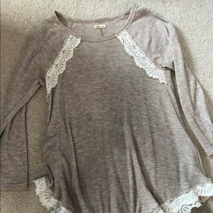 S Hollister Blouse with Lace Trim